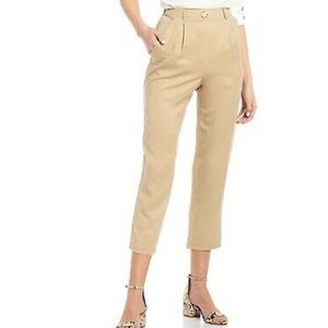 June and Hudson tan pleated front trouser pants L